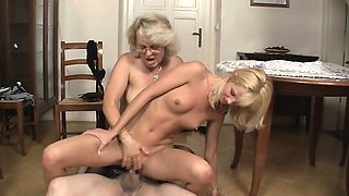 Her shaved pussy gets licked and fucked