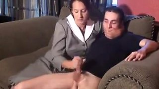 Mom Gives Him A Punishment Wank !