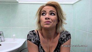 Doctor bangs blonde in bathroom