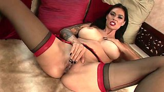 Red Lingerie Masturbation with a smoking hot brunette babe
