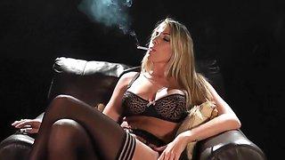 Smoking lingerie blonde playing