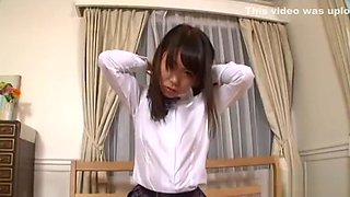 Japanese Schoolgirl Bonks Her Unshaved Pussy With Toy