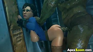 Horny ass brunette beauties from various video games get doggystyle and missionary sex