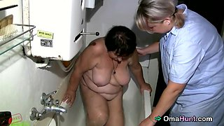 Fat granny needs a lot of help, and this nice nurse helps her out as much as she can