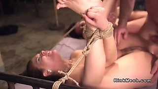 Tied up roommates anal punished in dungeon