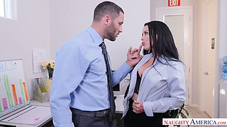 Naughty big breasted nerdy brunette secretary Katrina Jade rides dick well