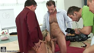 Perfectly sexy shaped blonde Melisa Hill is seduced by Patrick Knight and Jordan Bliss for naughty threesome fuck.