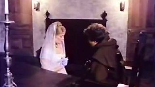 Sinful bride gives eager blowjob to horny priest guy