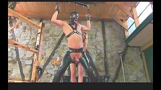 Blonde mistress ballbusting restrained slave