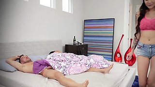Teen feet in face first time Family Shares A Bed