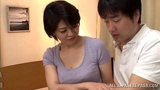 Perverted Japanese milf is seducing this dude for sex