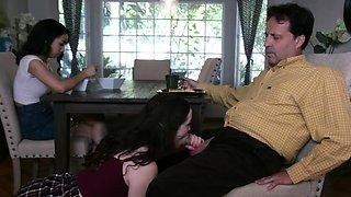 Jackie Rogan watching her bestie suck her stepdads big dick
