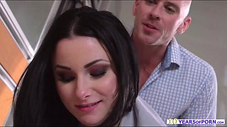 Hot and sexy maid gets an unsual chore by sucking her masters bigcock