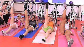 A fitness trainer gets sexually dominated by 5 cock-starved