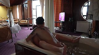 Step mom uses son for afternoon fuck in the Jacuzzi - Family Taboo