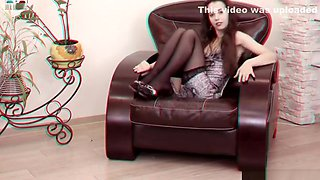 Flexible teen posing  spreading on a sofa  3D HD