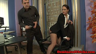 Dominated milf in stockings gets assfucked