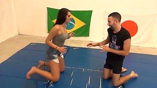 2 Females wrestling 2 males
