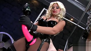 Sexy blonde strapon high heels boots fuck