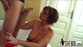 slutty granny with glasses plays with her pussy then gets banged hard