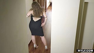 Big bottomed milf Sofia Curly takes a shower before passionate sex with her lover
