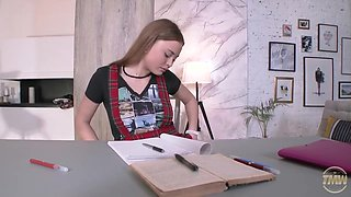 Slutty schoolgirl is about to have casual sex with her tutor, because she likes his cock
