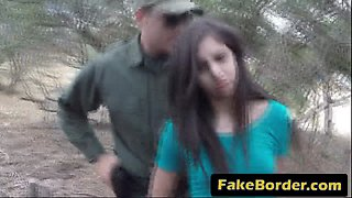 Teen gets banged by horny border guard outdoors