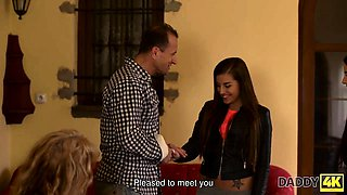 DADDY4K. Mature guy couldn't say no to daughters of his...