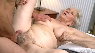 Granny likes the dick hard and stiff in both holes