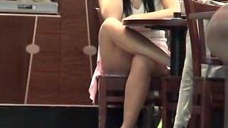 Horniest sitting upskirt of the dark haired girl in café AEF4
