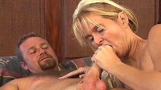 Blonde whore sucks dick and gets stuffed