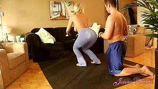 Son cums all over mom sexy yoga pants