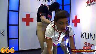 Mimi the black nurse is thirsty for piss and cum 666bukkak