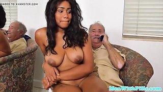 Young busty black nurse rides grandpa cock