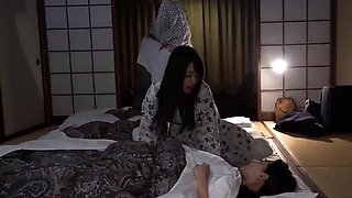 Curvy Asian wife chokes on a hard cock and gets fucked deep