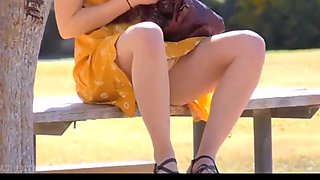 Beauty brunette flashing her body in the park