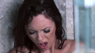 A brunette with nice tits is taking a shower in the solo video