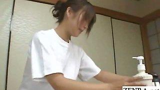 Subtitled CFNM Japanese sensual penis washing at inn