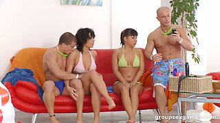 Open minded couple have an amazing foursome where everyone cums