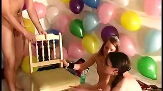 Amateurs having tickling and roleplay fun at sex party
