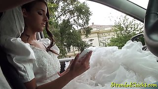 Hitchhiking teen fucked in a wedding dress