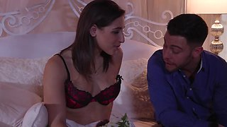 Foreplay with Abella Danger excites him to fuck her