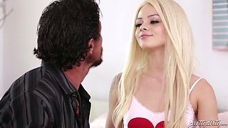Yummy blond haired sex doll Elsa Jean pleases kinky stud with fancy fellatio in extreme 69 pose