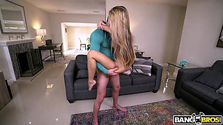 blonde asian babe gets pounded on the couch