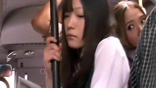 Mature OL pleasures a beautiful schoolgirl on a bus