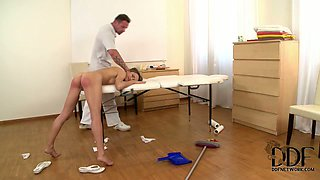 Bad girl gets punished by her boss