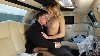 Horny blonde assistant Ria Sunn fucks her boss in a car