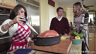 Thanksgiving kitchen fuck with petite brunette Madison Ivy