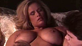 Hot and passionate FFM threesome with two busty whores
