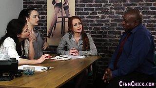 Clothed teens tug bbc